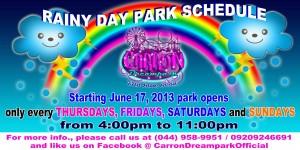 rainy day park schedule